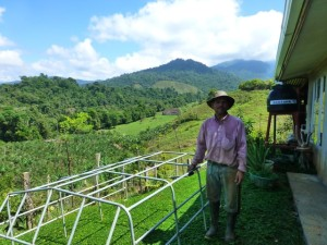 Farmer at a sustainable farm in the Alexander Skutch Biological Corridor